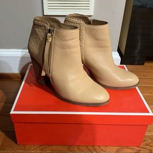 Coach Heidi Distress Leather Natural Ankle Booties